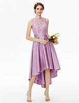LAN TING BRIDE Asymetrické Klenot Šaty pro družičky - Elegantní Průsvitný Bez rukávů Krajka Satén