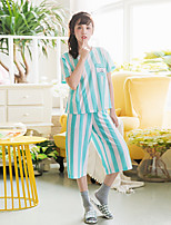 Women's 2 Pcs Cropped Sleepwear Suit Striped Short Sleeve Sweet Pajamas Suit