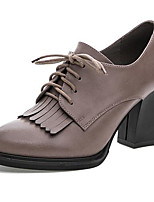 Women's Heels Formal Shoes Leather Spring Fall Office & Career Chunky Heel Gray 5in & over