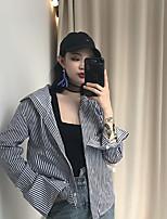 Women's Casual/Daily Simple Shirt,Striped Shirt Collar Long Sleeve Cotton