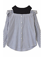 Women's Casual/Daily Active Shirt,Striped Round Neck Long Sleeve Others