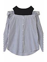 Для женщин На каждый день Рубашка Круглый вырез,Активный Полоски Длинный рукав,Другое