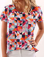 Women's Going out Casual/Daily Holiday Simple Street chic Spring Summer T-shirtGeometric Irregularity Split Round Neck Short Sleeve  Medium