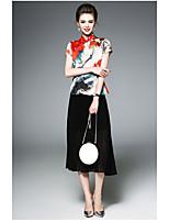 Chemisier Jupe Costumes Femme,Fleur Quotidien Antique Eté Manches Courtes Mao
