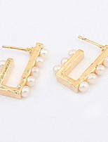 Women's  And  Girls' Stud  Earrings  Gold  And  Silver Pearl  Hook  Shape Stud  Earrings Daily  Party Statement  Jewelry