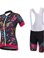 Cycling Jersey with Bib Shorts Women's Short Sleeve Bike Shorts Jersey Padded Shorts/Chamois Bib Tights Bottoms Clothing SuitsSpandex