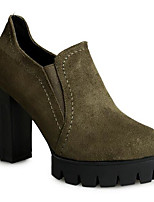 Women's Boots Comfort Nubuck leather PU Spring Casual Comfort Green Black Flat