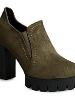 Damen Stiefel Komfort Nubukleder PU Frühling Normal Komfort Schwarz Grün Flach