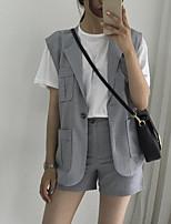 Women's Work Simple Summer Vest,Solid Shirt Collar Sleeveless Regular Polyester