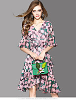 OYCP Women's Casual/Daily Sheath Dress,Floral V Neck Above Knee Short Sleeve Polyester Summer High Rise Micro-elastic Thin