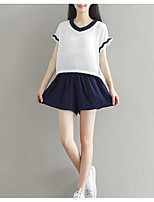 Women's Casual/Daily Simple T-shirt Skirt Suits,Solid Round Neck Short Sleeve Micro-elastic