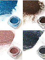 4bottles/set 0.2g/bottle Fashion Gorgeous Laser Glitter Holographic Fine Powder Colorful Shining Design Nail Art DIY Charm Pigment Decoration JX13-16