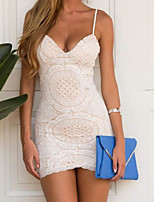 Women's Casual/Daily Sexy Bodycon Dress,Solid Strap Mini Sleeveless Polyester Summer Mid Rise Inelastic Thin