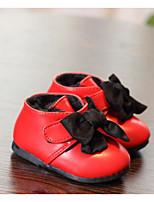Girls' Flats First Walkers PU Spring Fall Casual Walking First Walkers Magic Tape Low Heel Ruby Black Flat