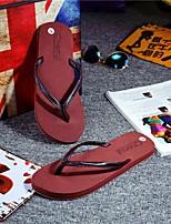 Men's Slippers & Flip-Flops Comfort PU Summer Casual Comfort Light Brown Black Flat