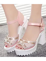Women's Heels Comfort PU Spring Casual Blushing Pink Blue White 1in-1 3/4in