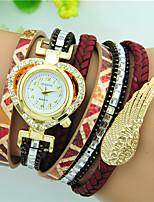 Mulheres Bracele Relógio Quartzo Strass PU Banda Heart Shape Preta Branco Vermelho Marrom Azul Marinho Rose