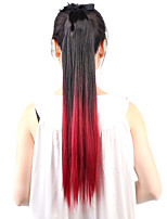 Neitsi 1Pcs 22'' 115g Striaght Wrap Around Ponytail Hair Extensions Synthetic Ombre T-Red Wine#