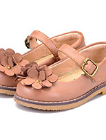 Girls' Flats Comfort Cowhide Nappa Leather Spring Fall Outdoor Casual Walking Magic Tape Low Heel Camel Flat