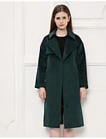 Women's Casual Simple Winter Blazer,Solid Shirt Collar Long Sleeve Long 34%Wool38%Cotton 28%Ramine
