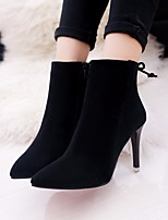 Для женщин Ботинки Удобная обувь Полиуретан Весна Повседневный Черный Серый На плоской подошве