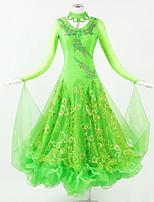 Latin Dance Dresses Women's Performance Chiffon Satin Sequined Pendant Sequin Pleated 1 Long Sleeve Neckwear