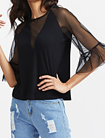 Women's Going out Casual/Daily Simple Summer T-shirt,Solid Round Neck Short Sleeve Silk Sheer