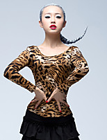 Latin Dance Tops Women's Training Ice Silk 1 Piece Long Sleeve Natural Tops