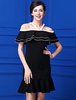 Gaine Robe Femme Décontracté / Quotidien simple,Couleur Pleine Bateau Mi-long Sans Manches Polyester Eté Taille Normale Micro-élastique