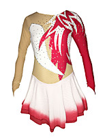 Ice Skating Dress Women's Girls' Long Sleeve Skating Skirts & Dresses Dresses High Elasticity Figure Skating Dress RhinestoneSpandex