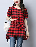 Tee-shirt Femme,Damier Mosaïque simple Chic de Rue Eté Manches Courtes Col Arrondi Coton Lin Fin