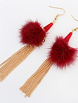 Euramerican Fashion Sexy Personalized  Pom Tassel Lady Party  Drop Earrings Statement Jewelry