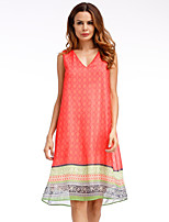 YHSPWomen's Going out Casual/Daily Simple Sophisticated A Line Loose Chiffon DressPrint Color Block Printing V Neck Knee-length Sleeveless