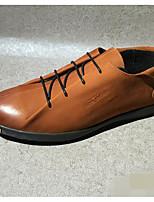 Men's Sneakers Comfort Cowhide Spring Casual Brown Flat