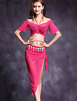 Belly Dance Outfits Women's Performance Linen 2 Pieces Short Sleeve Natural Top / Skirts