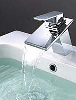 Contemporary Modern Centerset Waterfall with  Ceramic Valve Single Lever Single Hole Bathroom Basin Sink Mixer Faucet In Chrome