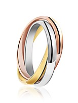 Three Colors Women's Ring Fashion Simple Elegant Titanium Steel Rings Jewelry For Wedding Party Daily 1 Set