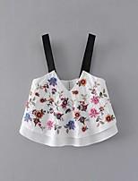 Tee-shirt Femme,Fleur Sexy simple Chic de Rue Eté Sans Manches A Bretelles Coton Fin Moyen