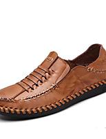 Men's Sneakers Comfort Cowhide Spring Casual Burgundy Light Brown Black Flat