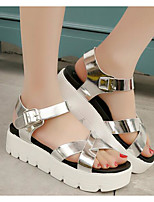 Girls' Flats First Walkers PU Spring Fall Daily Walking First Walkers Magic Tape Low Heel Silver Black White Flat