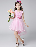 Ball Gown Asymmetrical Flower Girl Dress - Cotton Satin Tulle Jewel with Bow(s) Embroidery Flower(s) Pearl Detailing Ruffles