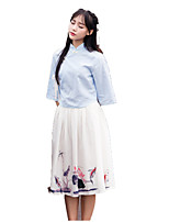 Outfits Wa Lolita Vintage Inspired Cosplay Lolita Dress Vintage 3/4-Length Sleeve Tea-length For