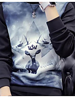 Men's Casual/Daily Sweatshirt Print Round Neck strenchy Polyester Long Sleeve