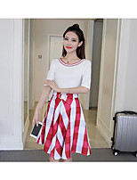 Women's Casual/Daily Street chic Spring Shirt Skirt Suits,Solid Round Neck Short Sleeve