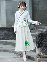 Women's Casual/Daily Chinoiserie Spring Shirt Skirt Suits,Print V Neck Long Sleeve