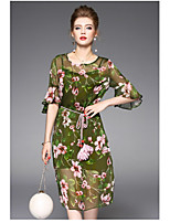 OYCP Women's Daily Sheath DressFloral Round Neck Above Knee  Length Sleeve Polyester Summer High Rise Micro-elastic Thin