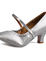 Maßfertigung Damen Modern Leder Kunstleder Sandalen Absätze Aufführung Verschlussschnalle Kubanischer Absatz Weiß Schwarz Silber Braun5 -