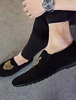 Men's Sneakers Comfort PU Tulle Spring Casual Black/White Black White Flat