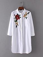 Camicia Da donna Sensuale Semplice Moda città Estate,Ricamato Colletto Cotone Manica lunga Sottile Medio spessore