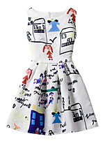 Girl's Cotton Fashion And Lovely  Graffiti Drawing  A-line Collect Waist Vest Printing Princess Dress